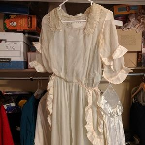 Vintage 1930's dress sheer ruffles and lace